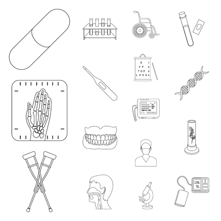 Medicine and treatment outline icons in set collection for design. Medicine and equipment vector symbol stock  illustration.