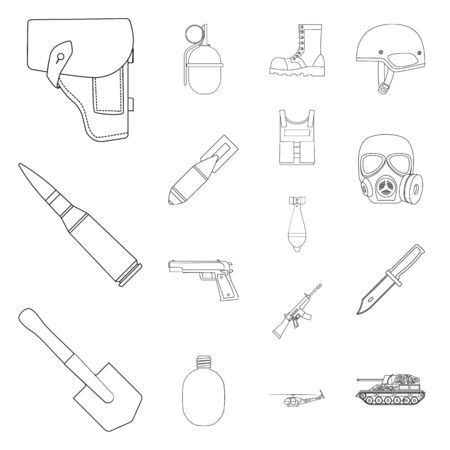 Army and armament outline icons in set collection for design. Weapons and equipment vector symbol stock  illustration. Vectores