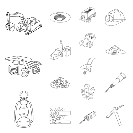 Mining industry outline icons in set collection for design. Equipment and tools vector symbol stock illustration.