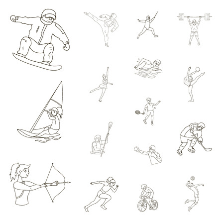 Different kinds of sports outline icons in set collection for design. Athlete, competitions vector symbol stock  illustration.