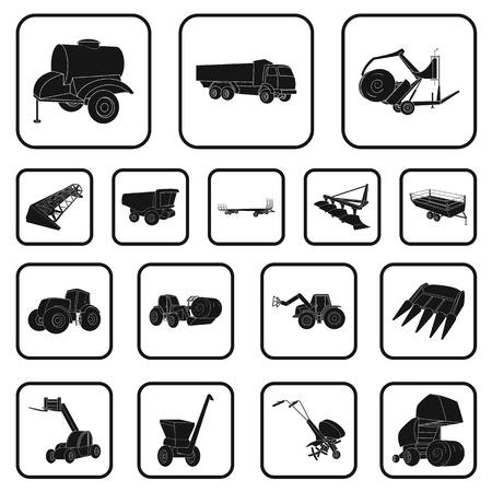 Landbouwmachines zwarte pictogrammen in set collectie voor design. Apparatuur en apparaat vector symbool stock web illustratie.