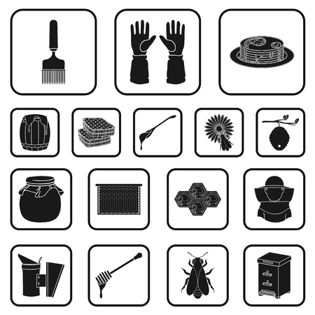 Apiary and beekeeping black icons in set collection for design.Equipment and production of honey vector symbol stock web illustration. 矢量图像