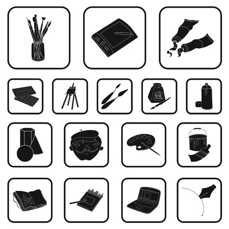 Painter and drawing black icons in set collection for design. Artistic accessories vector symbol stock  illustration. Vettoriali