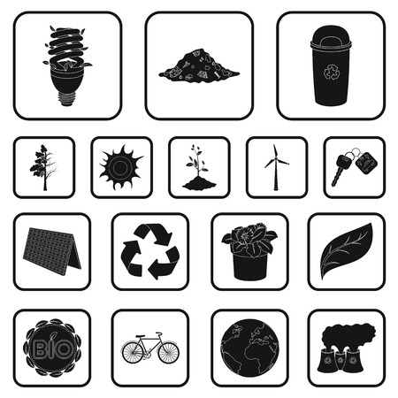 Bio and ecology black icons in set collection for design. An ecologically pure product vector symbol stock  illustration. Stock Illustratie