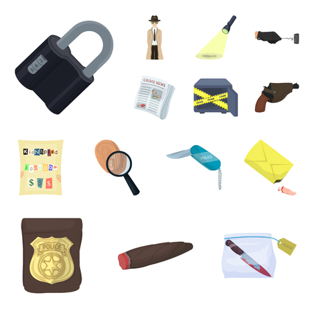 Detective agency cartoon icons in set collection for design. Crime and investigation vector symbol stock  illustration. Illustration