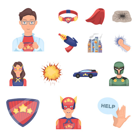 A fantastic superhero cartoon icons in set collection for design. Superheros equipment vector symbol stock web illustration. Ilustracja