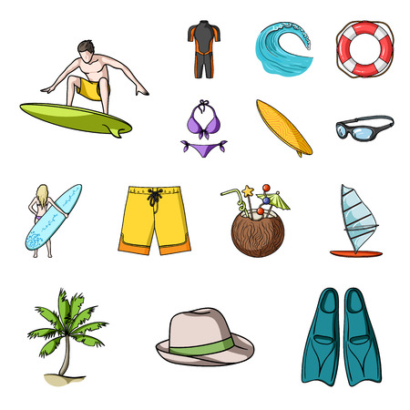 Collection set of surfing cartoons icons. Surfers accessories. vector symbol stock web illustration.