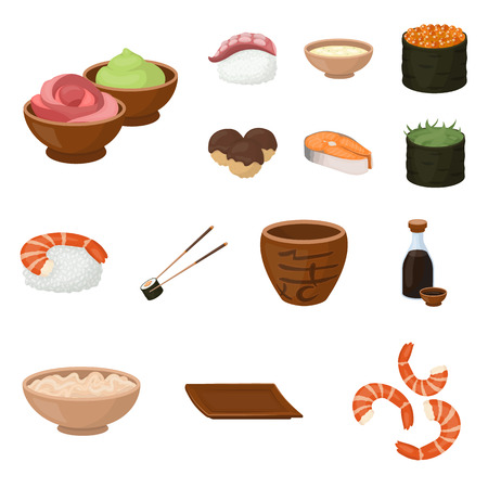 Collection set of sushi and seasoning cartoon icons for your design. vector symbol stock web illustration.