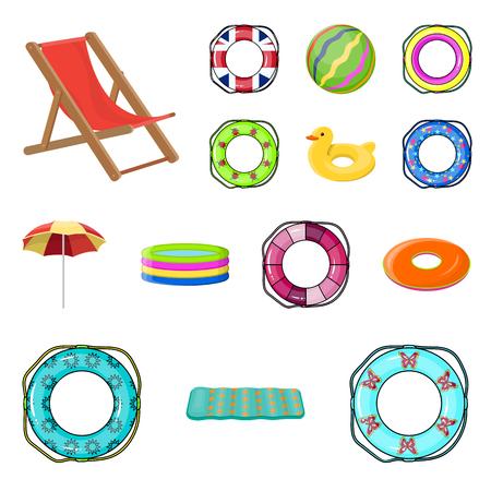 컬렉션 집합을 디자인을위한 여러 가지 빛깔 된 수영 동그라미 만화 아이콘. 다른 lifebuoys 벡터 기호 주식 그림을 벡터합니다.