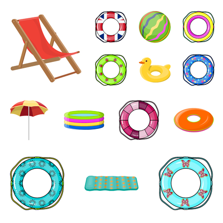 Collection set of Multicolored swimming circle cartoon icons for design your design. Different lifebuoys vector symbol stock web illustration.