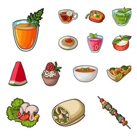Vegetarian dish cartoon icons in set collection for design.Vegetable and milk food vector symbol stock  illustration.