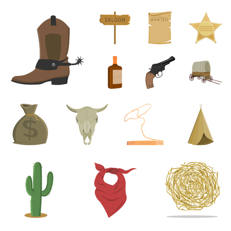 Attributes of the wild west cartoon icons in set collection for design.Texas and America vector symbol stock web illustration.