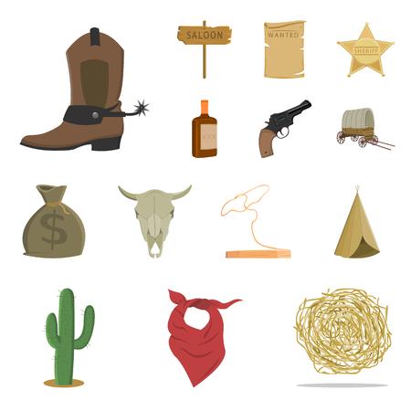 Attribute der Karikaturikonen des wilden Westens in der Satzsammlung für Design Texas- und Amerika-Vektorsymbolvorrat-Netzillustration.