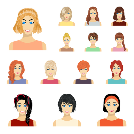 Types of female hairstyles cartoon icons in set collection for design. Appearance of a woman vector symbol stock web illustration. 向量圖像
