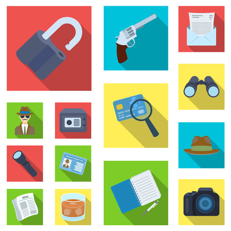 Detective and Attributes flat icons in set collection for design.Detective Agency vector symbol stock  illustration.