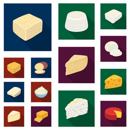 デザインのためのセットコレクションのチーズフラットアイコンの異なる種類.ミルク製品チーズベクトルシンボルストックイラスト。
