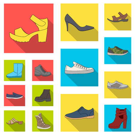 Different shoes flat icons in set collection for design. Men's and women's shoes vector symbol stock  illustration. Illustration