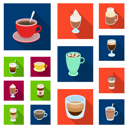 Different kinds of coffee flat icons in set collection for design. Coffee drink vector symbol stock  illustration.