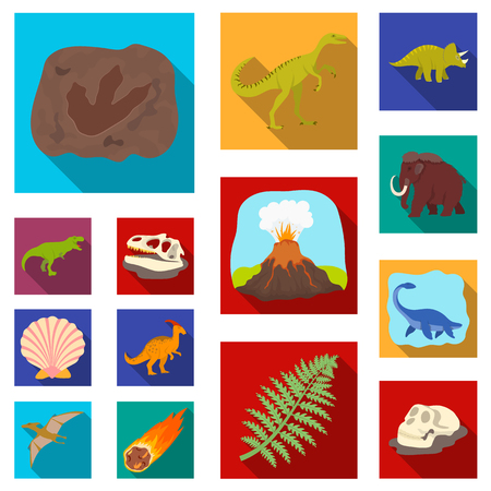 Different dinosaurs flat icons in set collection for design. Prehistoric animal vector symbol stock web illustration.