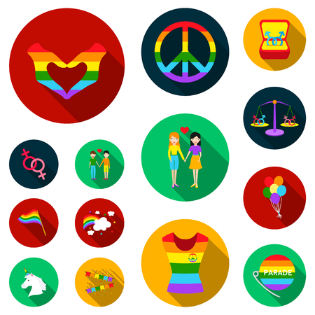 Gay and lesbian flat icons in set collection for design.Sexual minority and attributes vector symbol stock  illustration.