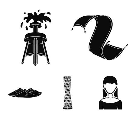 Persian carpet, dunes in the desert, Shanghai Tower, oil well.Arab emirates set collection icons in black style vector symbol stock illustration . Ilustração