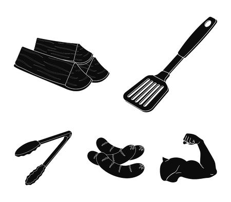 Blade keuken, brandhout, worstjes en andere voor barbecue. BQQ instellen collectie pictogrammen in zwarte stijl vector symbool stock illustratie.