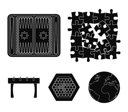 Board game black icons in set collection for design. Game and entertainment vector symbol stock  illustration. Illustration