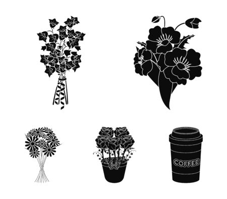 A bouquet of fresh flowers black icons in set collection for design. Various bouquets vector symbol stock  illustration.  イラスト・ベクター素材