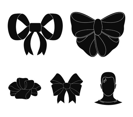 Ornamentals, frippery, finery and other icon in black style. Bow, ribbon, decoration, icons in set collection. Vettoriali