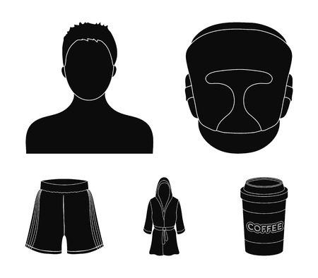 Boxing, sport, mask, helmet .Boxing set collection icons in black style vector symbol stock illustration . Çizim