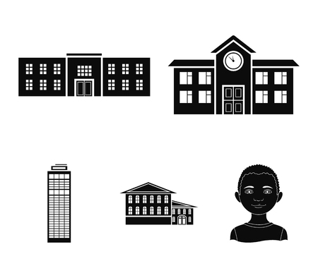 Skyscraper, police, hotel, school.Building set collection icons in black style vector symbol stock illustration .