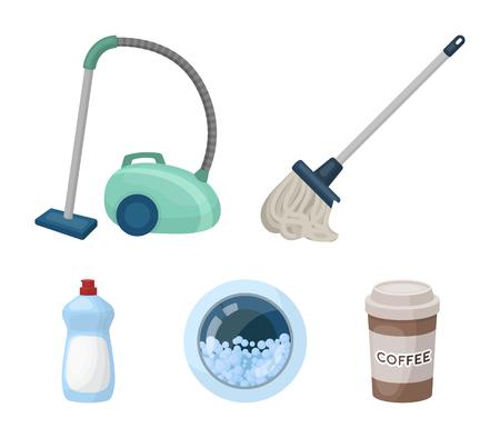 Une vadrouille avec un manche pour laver les sols, un aspirateur vert, la fenêtre d'une machine à laver avec de l'eau et de la mousse, une bouteille avec un agent nettoyant. Nettoyage des icônes de la collection de jeu dans l'illustration stock du symbole de vecteur de le style dessin animé Vecteurs