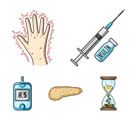 Spuit met insuline, pancreas, glucometer, handdiabetes. Diabet ingesteld collectie iconen in cartoon stijl vector symbool stock illustratie.