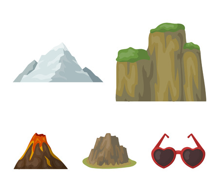 Sheer cliffs, a volcanic eruption, a mountain with a beach, a glacier. Different mountains set collection icons in cartoon style vector symbol stock illustration .
