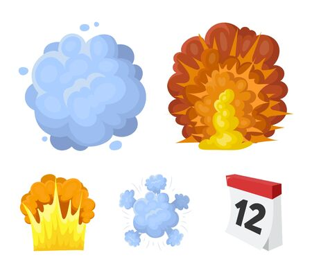 Flame, sparks, hydrogen fragments, atomic or gas explosion. Explosions set collection icons in cartoon style vector symbol stock illustration .