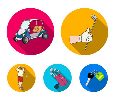 스틱, 골프 카트, 가방에 막대기로 트롤리 가방 막대기로 망치로 낀 사람과 gloved 손. 골프 클럽 플랫 스타일에서 컬렉션 아이콘을 설정 벡터 기호 재고