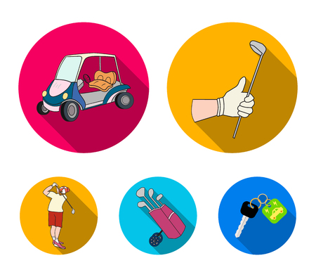 A gloved hand with a stick, a golf cart, a trolley bag with sticks in a bag, a man hammering with a stick. Golf Club set collection icons in flat style vector symbol stock illustration web.