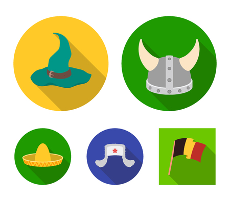Sombrero, hat with ear-flaps, helmet of the viking.Hats set collection icons in flat style vector symbol stock illustration web. Illusztráció