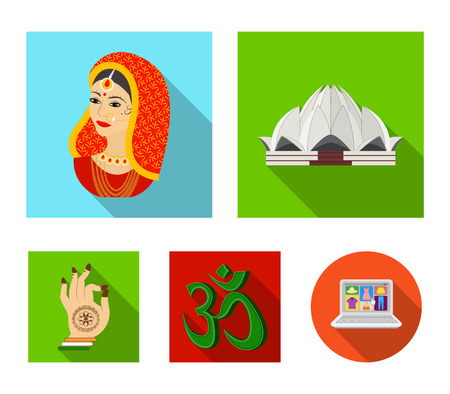 Country India flat icons in set collection for design.India and landmark vector symbol stock web illustration. Illustration
