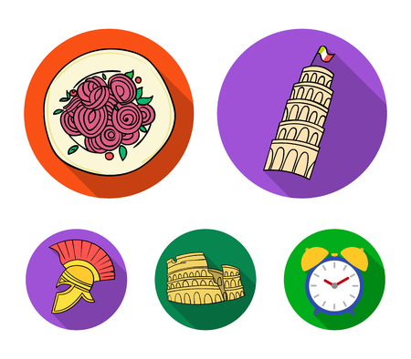 Pisa tower, pasta, coliseum, Legionnaire helmet.Italy country set collection icons in flat style vector symbol stock illustration web.