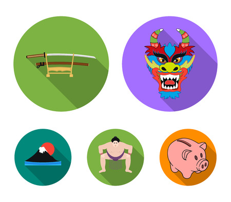 Dragon mask, katano, a man is a sumo player, a fujiama mountain.Japan set collection icons in flat style vector symbol stock illustration web.