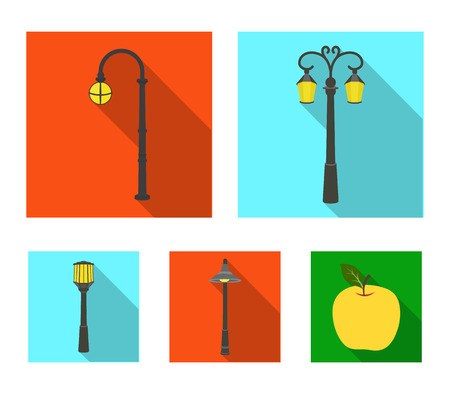 Lamppost set collection icons Çizim