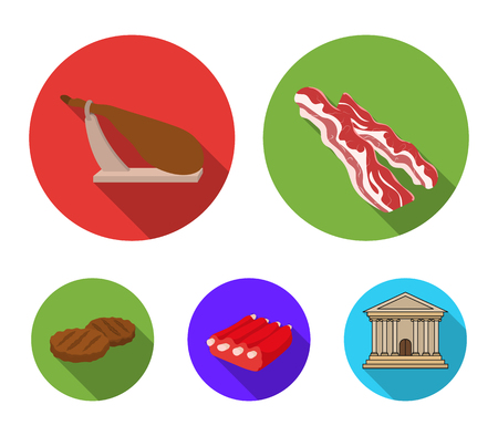Bacon, jamon, pork ribs, fried cutlets. Meat set collection icons in flat style vector symbol stock illustration. Vettoriali