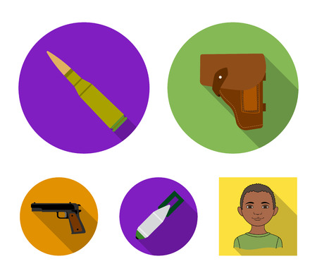 Holster, cartridge, air bomb, pistol. Military and army set collection icons in flat style vector symbol stock illustration.