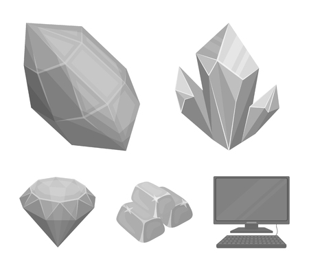 Precious minerals and jeweler set collection icons