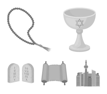 A cup of wine, Islamic beads, ten commandments, tanakh. Religion set collection icons in monochrome style vector symbol stock illustration web. Иллюстрация