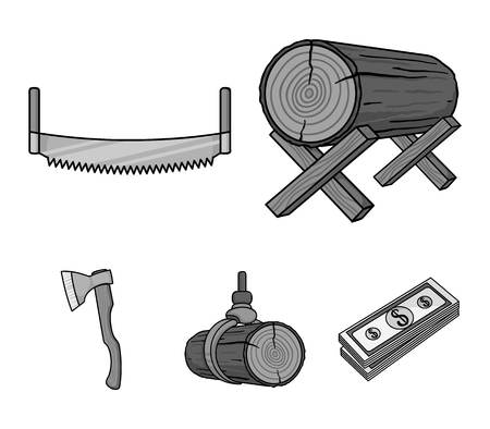 Log on supports, two-hand saw, ax, raising logs. Sawmill and timber set collection icons in monochrome style vector symbol stock illustration web. Ilustracja