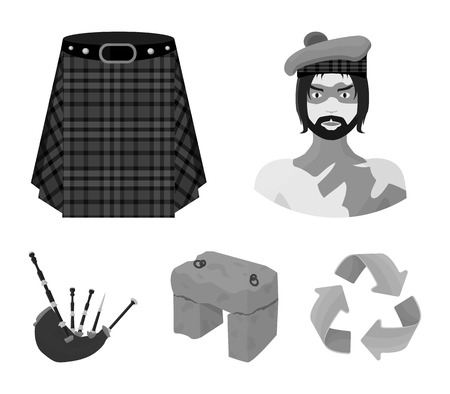 Highlander, Scottish Viking, tartan, kilt, scottish skirt, scone stone, national musical instrument of bagpipes. Scotland set collection icons in monochrome style vector symbol stock illustration web.