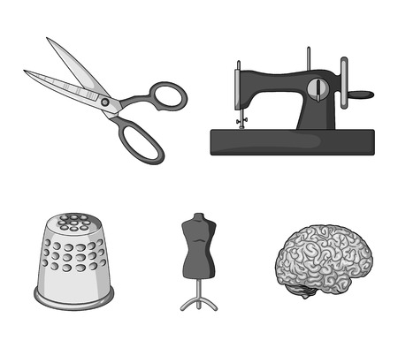 Manual sewing machine, scissors, maniken, thimble.Sewing or tailoring tools set collection icons in monochrome style vector symbol stock illustration web. Vettoriali