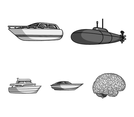A military submarine, a speedboat, a pleasure boat and a spirit boat.Ships and water transport set collection icons in monochrome style vector symbol stock illustration web.